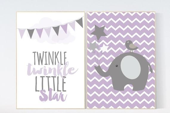 Twinkle Twinkle Little Star, Purple nursery decor, baby girl nursery wall art, new baby gift, purple gray nursery, Elephant Nursery Art