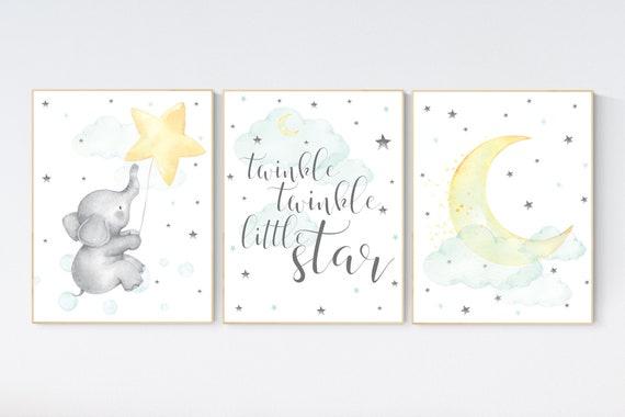 Mint and yellow nursery, nursery wall art neutral, moon and stars nursery, baby room decor, twinkle twinkle, gender neutral nursery art
