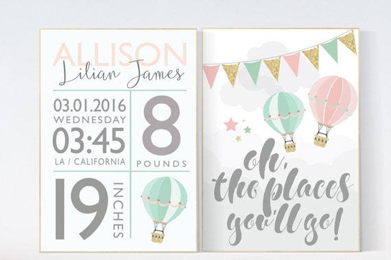 Nursery decor girl coral, coral mint nursery, hot air balloon, coral and teal, coral mint gold, Oh the places you'll go,  pink mint gold