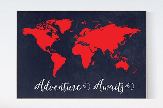 Adventure awaits Nursery print, navy and red, World Map print, Kid's Room Decor, Children's playroom decor, toddler room, navy nursery art