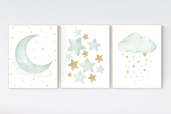 Sage green gold nursery decor, gender neutral nursery, sage green, moon and stars, set of 3, nursery prints, green gold nursery
