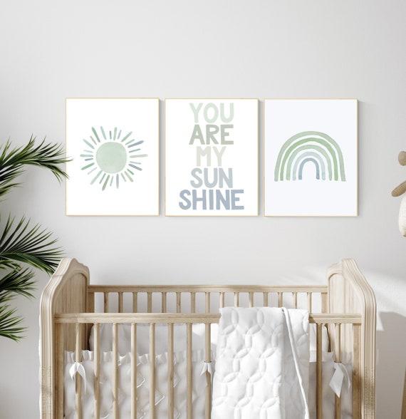 Nursery prints rainbow, gender neutral, sage green nursery wall decor, rainbow, sun, your are my sunshine, nursery decor neutral, green