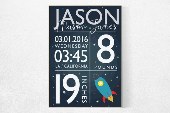 Baby birth stats, Space nursery decor, Outer Space Room Art, Boy Nursery, nursery wall art, Space Decor, space nursery art, baby name