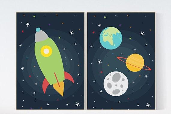 Space nursery decor, outer space, nursery wall art, baby boy nursery decor, set of 2, outer space decor print kids room, green rocket ship