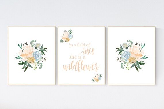 In a field of roses she is a wildflower, Nursery decor girl coral, nursery decor girl floral, coral blue, nursery decor flower nursery