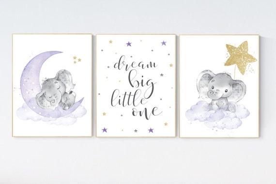 Elephant nursery decor girl, nursery decor girl purple, nursery decor elephant, nursery decor girl lavender and gray, lilac nursery decor