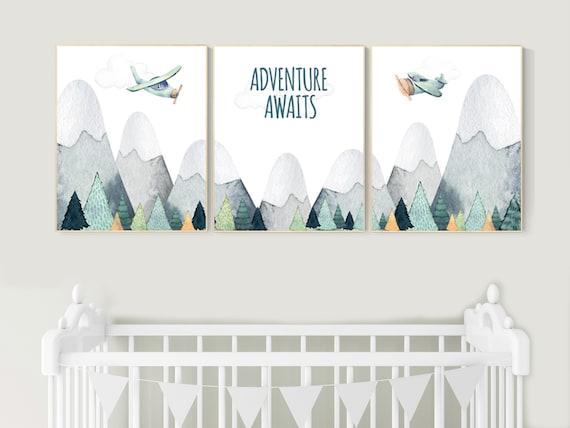 Nursery decor boy mountain, adventure nursery, travel theme nursery, woodland, gender neutral, explore, hot air balloon, plane, neutral