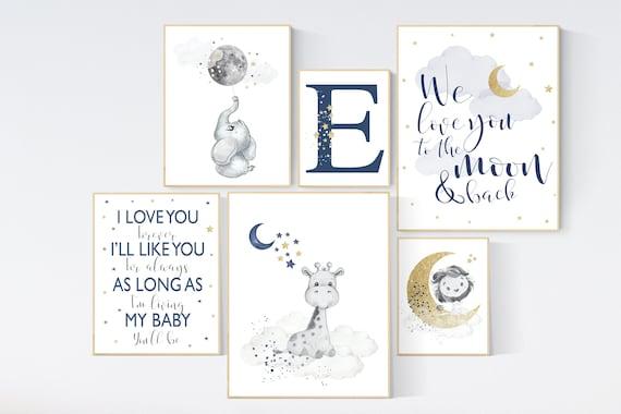 Canvas Listing: Nursery decor boy elephant, navy gold nursery wall art, cloud, stars, navy nursery, we love you to the moon and back