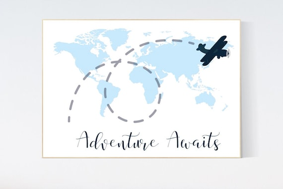 Nursery wall art map, adventure awaits, world map print, nursery decor boy mountains adventure, navy blue, plane nursery decor, blue nursery
