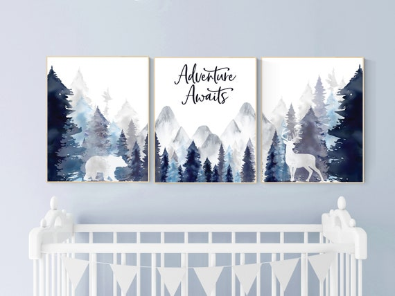 Nursery decor woodland, mountain wall art, tree nursery decor, adventure theme nursery, forest, navy and baby blue, woodland animals