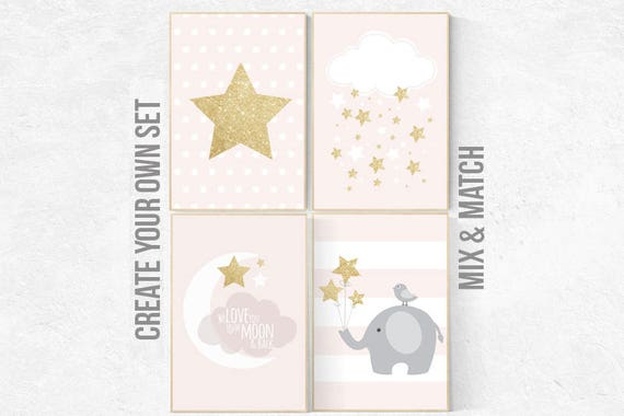 pink gold nursery decor, elephant nursery, pink and gold nursery, moon and back, Nursery decor girl gold, cloud nursery, girls room decor
