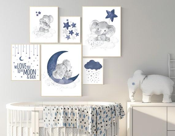 Nursery decor boy elephant, navy blue nursery wall art, cloud, stars, navy nursery, boy nursery wall art, we love you to the moon and back