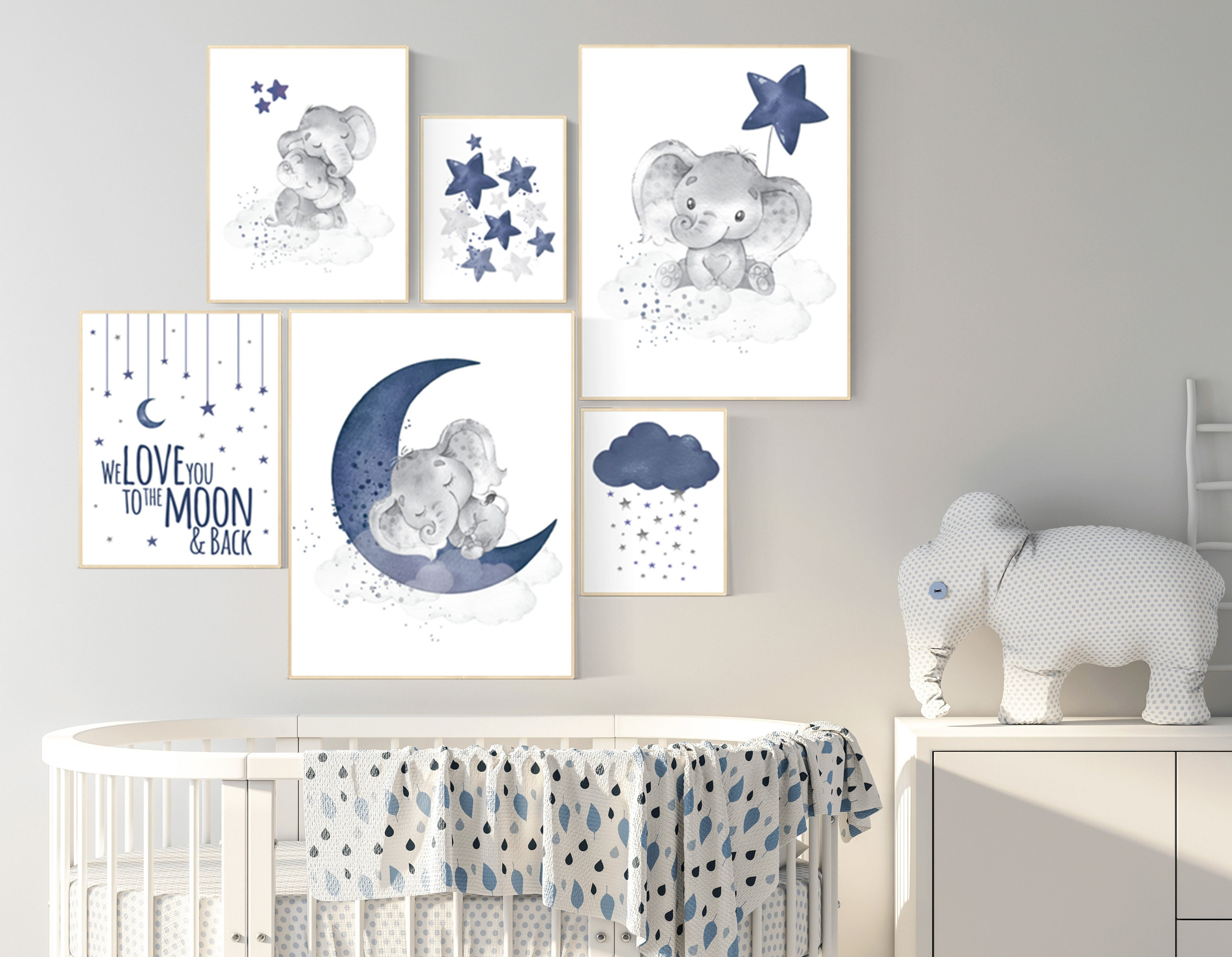 Nursery decor boy elephant, nursery wall art boy, navy ...