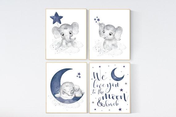 Nursery decor boy elephant, navy nursery decor, we love you to the moon and back, moon and stars, navy blue nursery art, elephant nursery