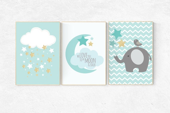 Mint and gold nursery decor, we love you to the moon and back, nursery decor elephant, nursery decor boy teal, mint gold, cloud and star