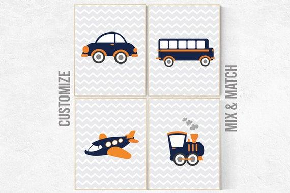 Car nursery wall art, Transportation decor, navy nursery wall art, Nursery decor boy, truck nursery, transportation decor, boys room, travel