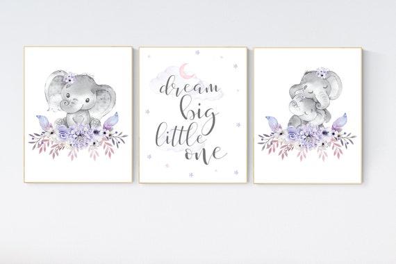 Nursery decor girl boho, lilac and pink, nursery decor girl elephant, purple and pink, nursery decor girl floral, lilac nursery decor