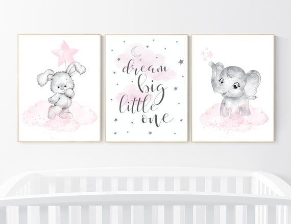 Nursery wall art girl elephant, bunny, pink and grey, nursery decor girl pink, moon, stars, nursery prints, animal prints, girl nursery