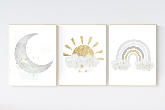 Nursery wall art grey, gray gold nursery, rainbow nursery, nursery decor neutral, baby room decor gender neutral, moon and stars, grey gold