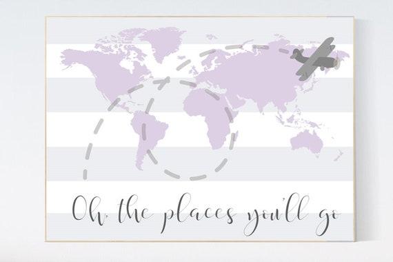 Nursery decor girl purple, nursery decor map, Lilac nursery, Oh the places you'll go, travel nursery decor, world map, lavender nursery