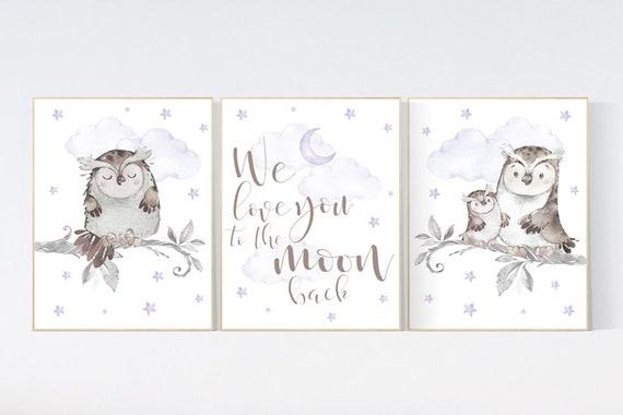Nursery decor girl purple, Nursery decor owl, lilac nursery, nursery wall art, owl nursery, lavender, we love you to the moon and back