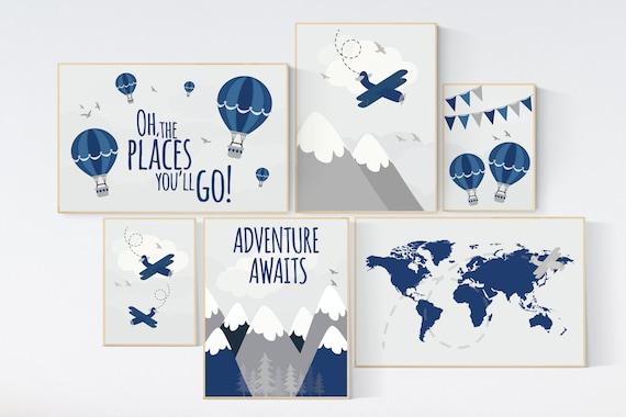 Adventure nursery decor, nursery decor boy adventure, nursery decor boy airplane, world map nursery, adventure awaits, oh the places
