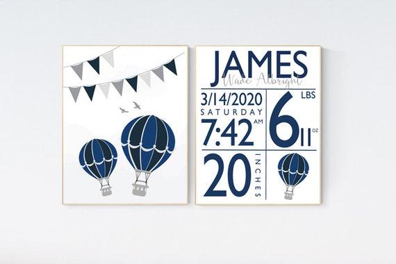 Navy nursery wall art boy, birth stat print nursery, hot air balloon, navy blue, Nursery decor boy, birth stats, navy gray, adventure theme