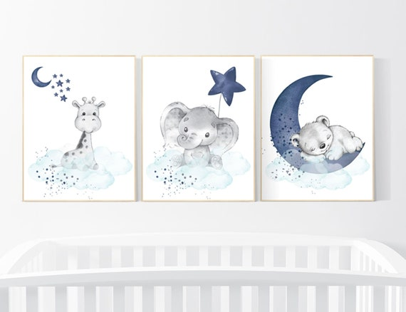 Nursery decor elephant and giraffe, animal nursery prints, navy nursery, navy teal nursery, baby room wall art, woodland animal prints