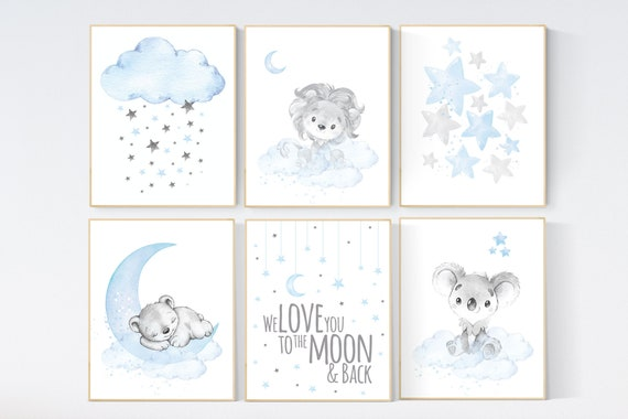 Animal nursery, Nursery decor boy elephant, lion, koala nursery art, blue, baby room wall art, boy room, blue gray grey, animal prints
