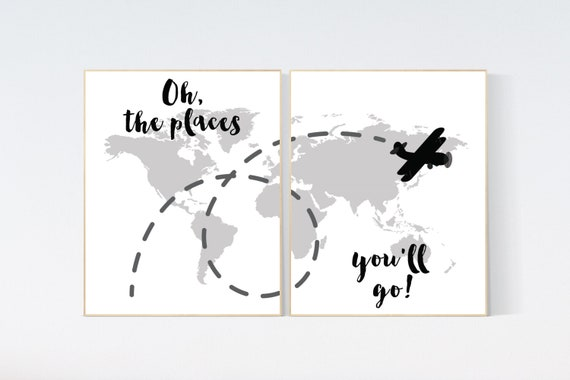 Oh the places you'll go, World Map wall art, world map nursery, black and white and gray nursery decor, world map wall art, baby room