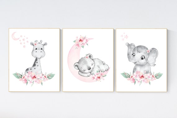 Nursery decor floral jungle, animal nursery, floral nursery, Nursery wall art girl elephant, giraffe, bear, pink flowers, girl nursery ideas
