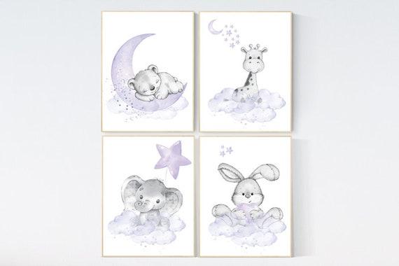 Nursery decor girl woodland, purple nursery, lilac, elephant, bear, giraffe, bunny, animal nursery, lilac nursery, animal nursery prints