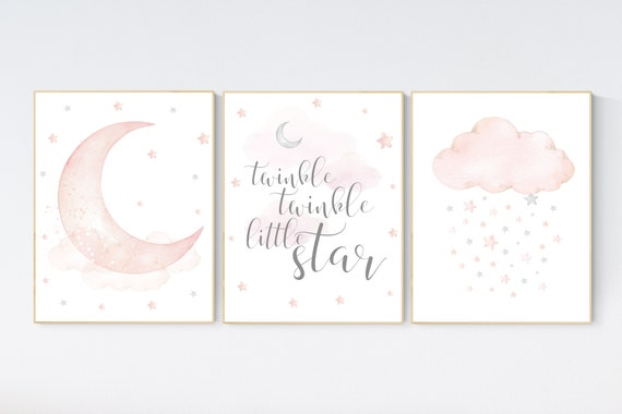 Nursery decor girl, Blush pink, cloud, stars, moon, blush nursery wall art, girls nursery wall decor, nursery prints girl, blush prints
