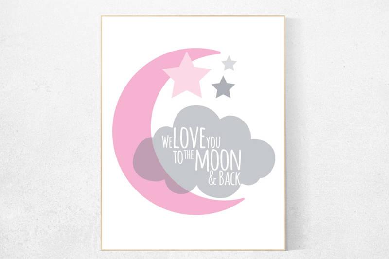 we love you to the moon and back pink nursery decor nursery decor