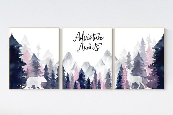 CANVAS LISTING: Nursery decor woodland, mountain wall art, tree nursery decor, adventure theme nursery, forest, navy
