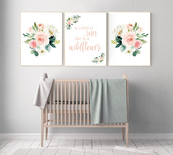 In a field of roses she is a wildflower, Nursery decor girl blush, nursery decor girl floral, peach nursery decor, flower nursery