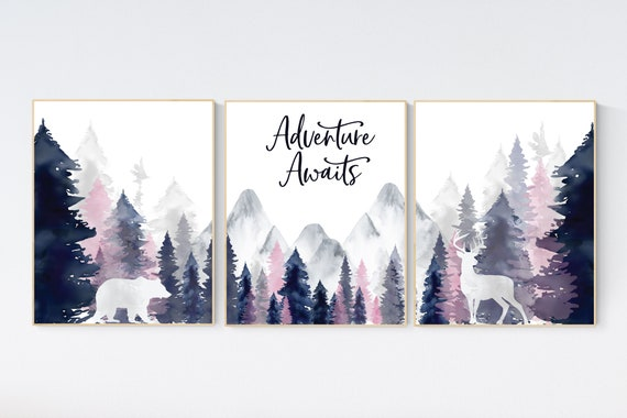 Nursery decor woodland, mountain wall art, tree nursery decor, adventure theme nursery, forest, navy and pink, woodland animals, navy pink