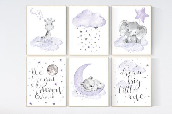 Nursery decor girl lavender, purple nursery wall art, elephant, giraffe, bear, nursery prints animals, baby room decor, nursery art