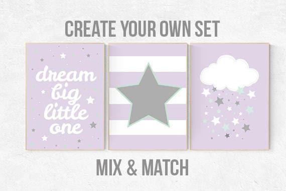 Lilac mint nursery, purple mint nursery, nursery decor girl, lavender mint nursery, purple mint nursery, nursery decor elephant, cloud, star