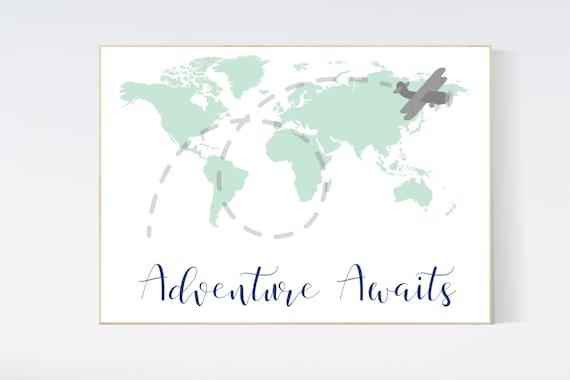 World map mint, nursery decor mint green, mint nursery, gender neutral nursery, travel nursery, world map nursery, mint green decor