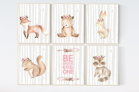 Nursery prints woodland, animal flower crown prints, nursery prints animals, nursery decor girl flower, animal prints, nursery decor flower