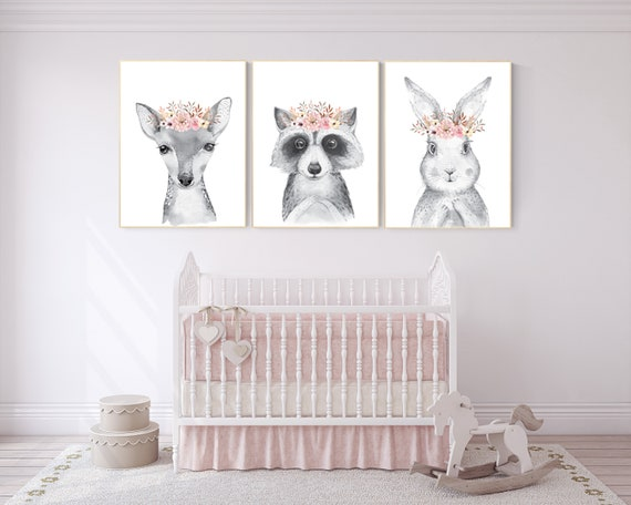 Nursery decor girls, Nursery prints woodland, flower nursery, nursery prints animals, nursery decor girl flower, boho nursery, blush pink