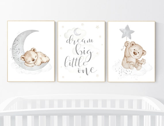 Nursery decor bear, nursery decor boy, bear nursery print, teddy bear decor, nursery wall art animals, boy nursery art, grey nursery, gray