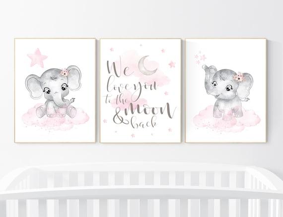 Nursery decor girl, Elephant nursery, nursery wall art elephant,  baby room, girl nursery decor, pink grey elephant, girl nursery art