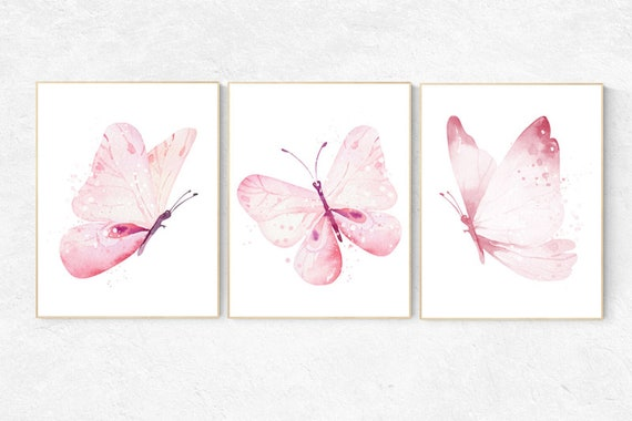 Nursery decor girl butterfly, Butterfly Nursery Art, Girl Nursery Art, Butterfly Nursery Decor for Baby Girl, Butterfly Wall Art
