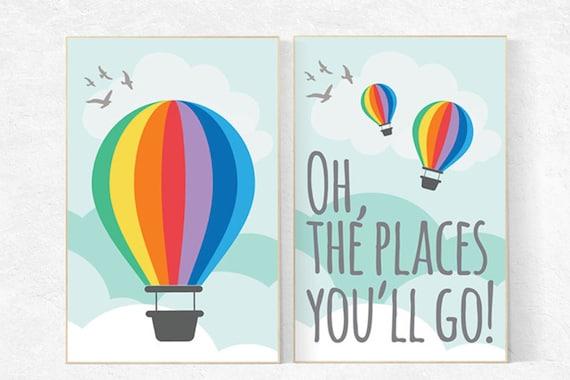 Oh the places you'll go, hot air balloon, set of 2 prints, playroom decor, nursery decor, nursery art, nursery print set, large nursery art