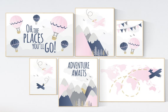 Mountain wall art for nursery, pink navy gold nursery decor, pink navy blue, nursery decor adventure, airplane, world map, adventure awaits