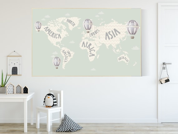 World map nursery, World map wall art, gender neutral nursery, mint green, kids room, nursery wall art map, map print world, map nursery