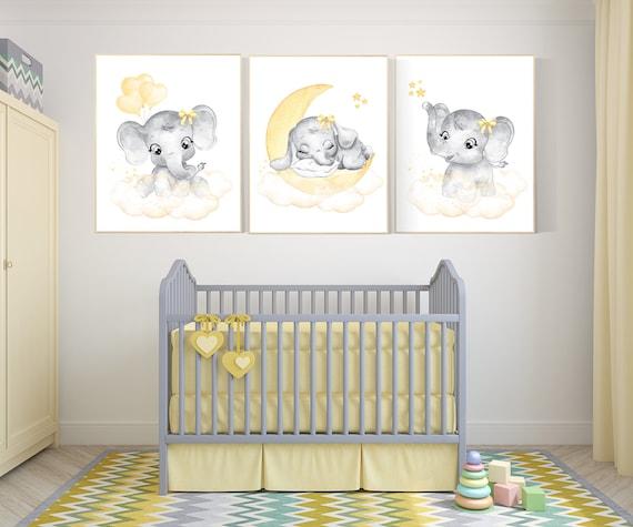 Yellow and gray nursery, elephant nursery, Nursery decor girl, yellow, grey, elephant balloon, girl nursery decor, yellow nursery, animals