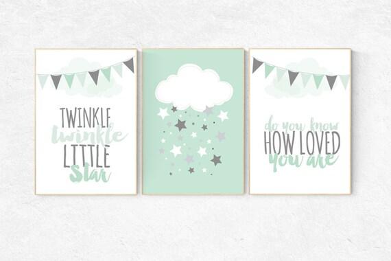 Twinkle Twinkle Little Star, Mint nursery decor, cloud nursery, gender neutral baby, new baby gift, mint gray, kids room, playroom decor